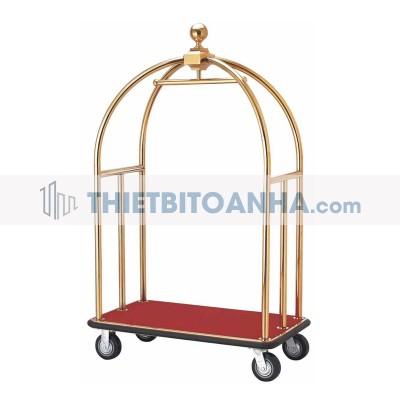 Xe đẩy hành lý khung inox mạ vàng cao cấp