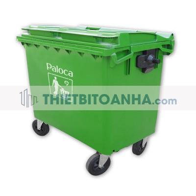 thùng rác lớn có bánh xe
