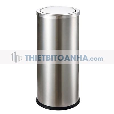 Thùng rác inox tròn nắp lật 250mm