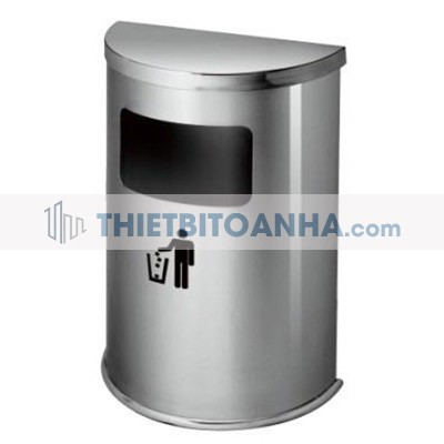 thùng rác inox hình bán nguyệt màu trắng
