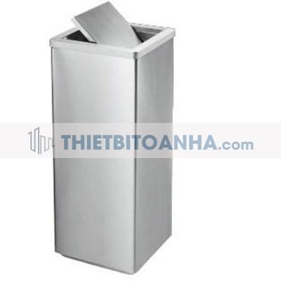 thùng rác inox màu trắng hình vuông