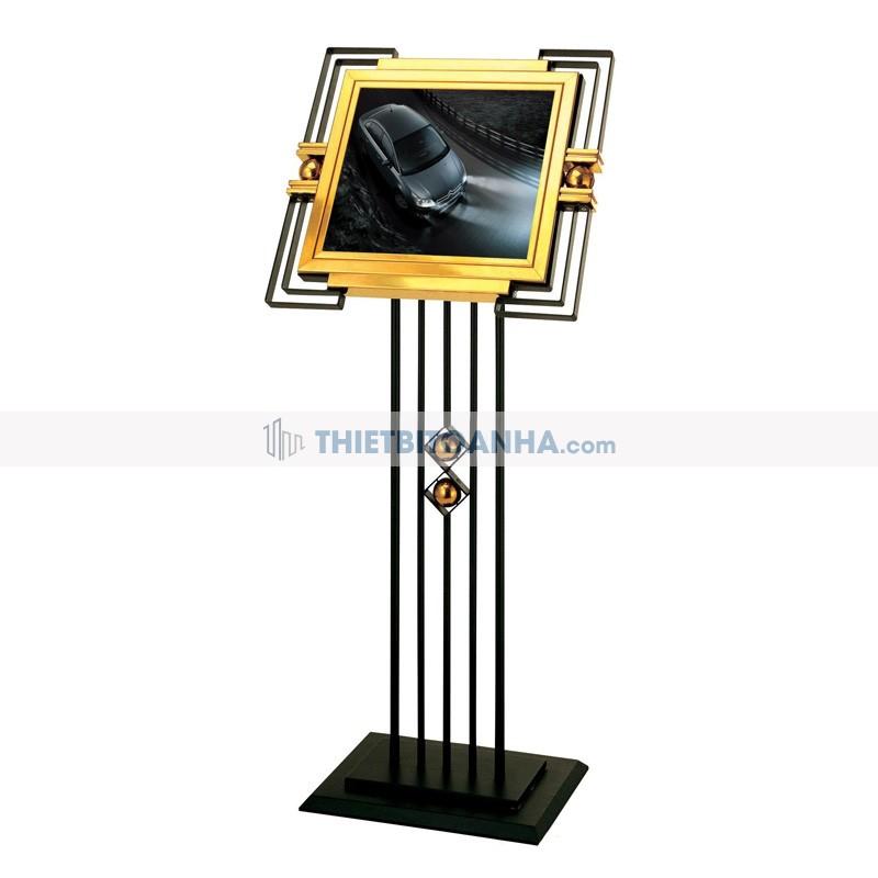 bảng menu inox mạ vàng khung thép phun sơn