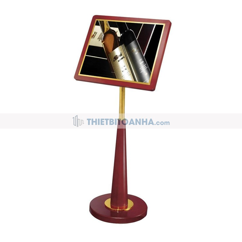 bảng menu gỗ trụ inox mạ vàng