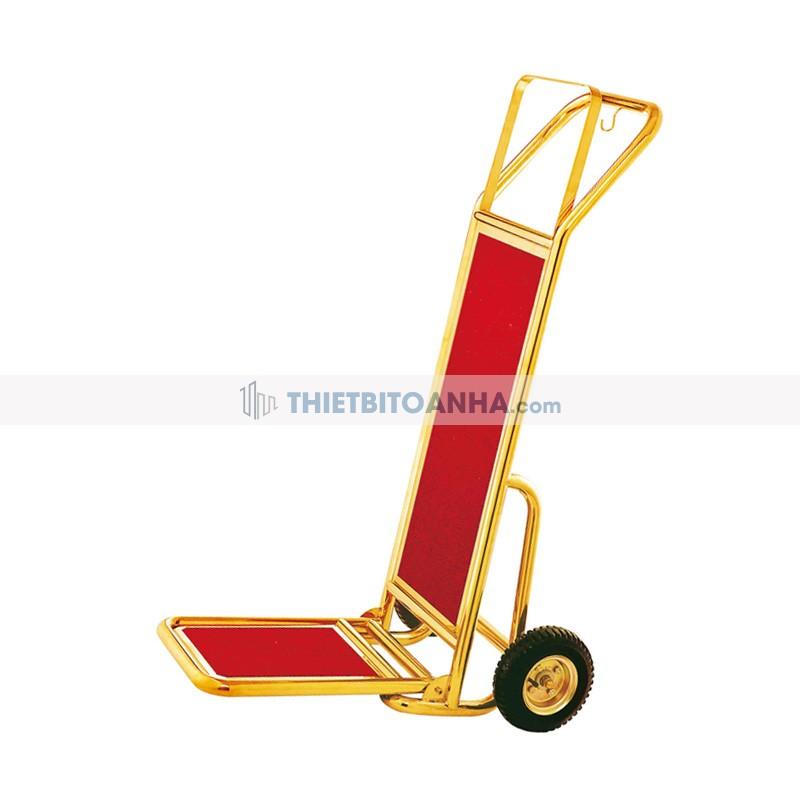Xe đẩy hành lý inox vàng lót thảm nhung đỏ