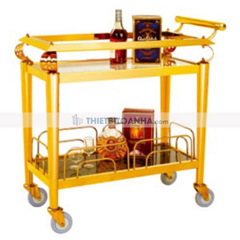 Xe đẩy phục vụ rượu inox mạ vàng 2 tầng