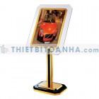 bảng menu inox mạ vàng khung thủy tinh