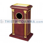 Thùng rác gỗ có gạt tàn kiểu Roman