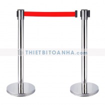 Cột chắn inox trắng dây căng 1m8 màu đỏ