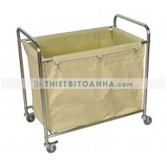 Xe chở đồ giặt là túi vải bạt khung inox trắng