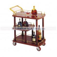 Xe đẩy phục vụ rượu khách sạn nhập khẩu bằng gỗ