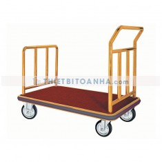 Xe đẩy hành lý khung inox vàng đế thép lót thảm nhung