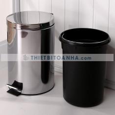 Thùng rác inox có nắp đạp chân tiện lợi cho văn phòng và gia đình