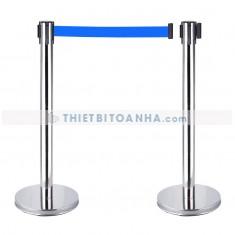 Cột chắn inox trắng dây căng 1m8 màu xanh