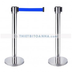 Cột chắn inox trắng dây căng 5m màu xanh