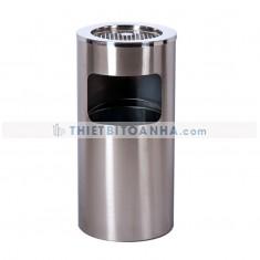 Thùng rác inox tròn có gạt tàn (Ø)300mm
