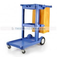 Xe đẩy làm vệ sinh 3 tầng hình chữ L không nắp
