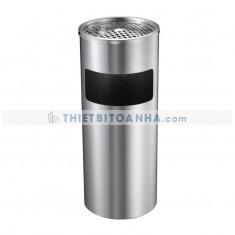 Thùng rác inox tròn có gạt tàn (Ø)250mm