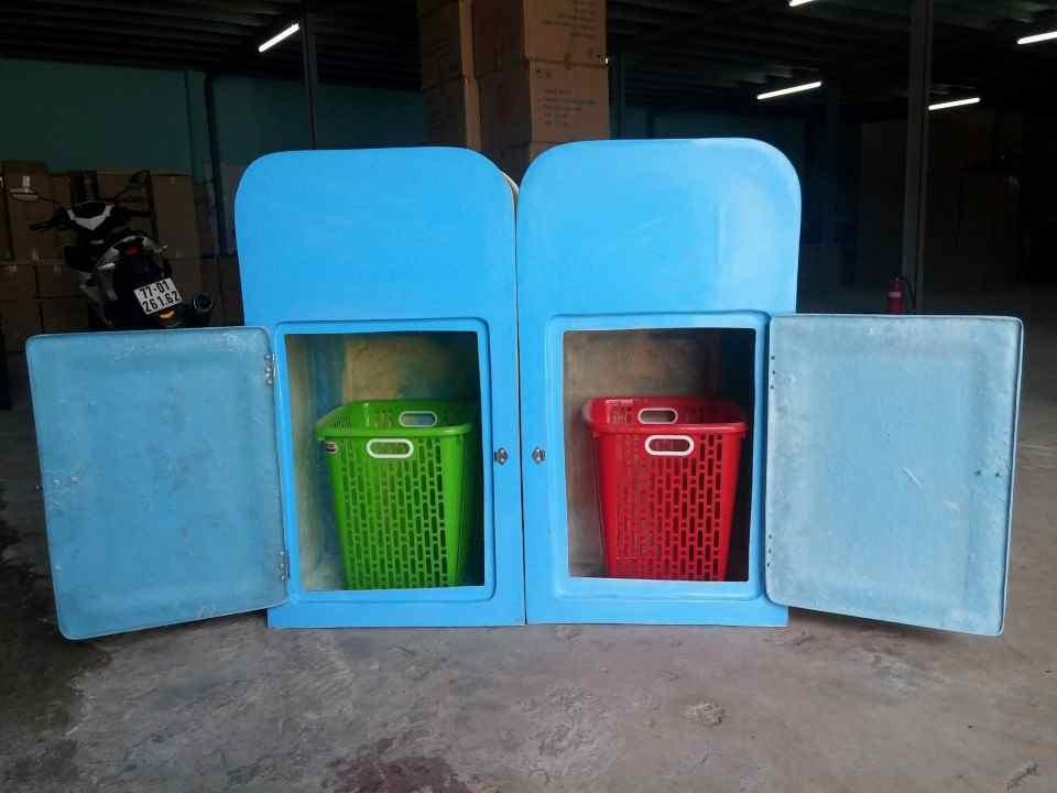 thùng rác composite 2 ngăn phân loại rác thải