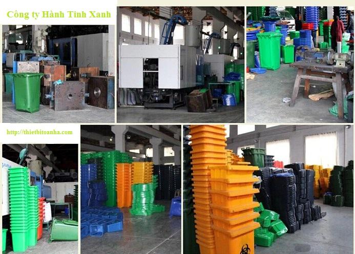 Nhà máy sản xuất thùng rác của công ty Hành Tinh Xanh