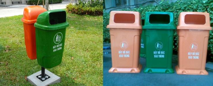 Các loại thùng rác công cộng hành tinh xanh đang phân phối
