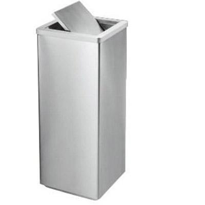 Thùng rác inox màu trắng hình vuông nắp bập bênh