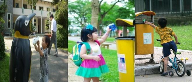 Tập thói quen bỏ rác đúng nơi quy định cho trẻ từ nhỏ